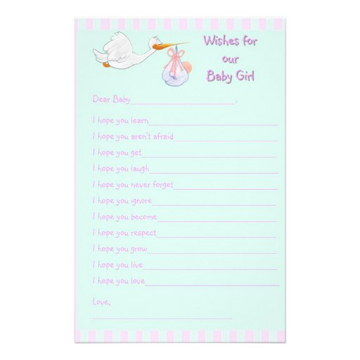 Baby Shower For Girl Wishes ~ Baby shower keepsake wishes for girl stationery