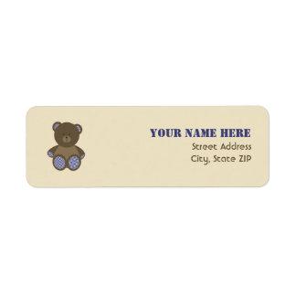 Baby Shower Label - Blue Gingham Stuffed Bear