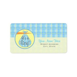 Baby Shower Label - Blue Plaid Stork - It's A Boy label