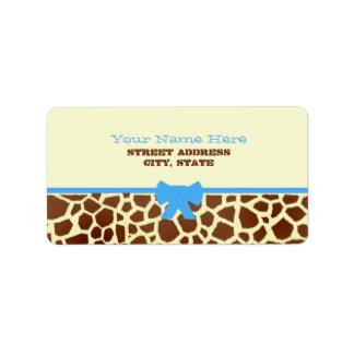 Baby Shower Label - Giraffe Print & Blue