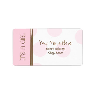 Baby Shower Label - Pink & Brown - It's A Girl
