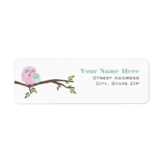 Baby Shower Label - Pink Mother & Blue Baby Owl