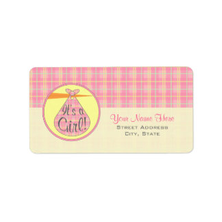 Baby Shower Label - Pink Plaid Stork - It's A Girl