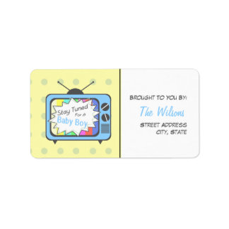 Baby Shower Label - Stay Tuned For A Baby Boy
