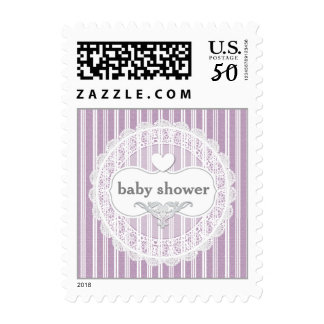 Baby Shower Lace Gingham with Heart A03A PURPLE Postage