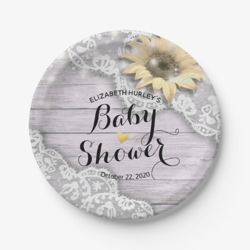 Baby Shower Lace Sunflower Barn Wood String Lights Paper Plate