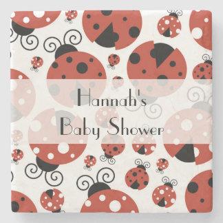 Baby Shower - Ladybugs, Ladybirds - Red Black Stone Beverage Coaster