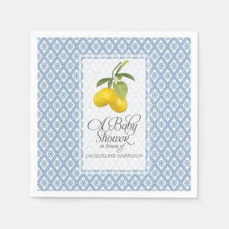 Baby Shower Lemon Citrus Blue White Pattern Art Napkin