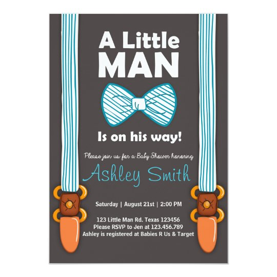 Baby Shower Little Man Invitation Bow Tie Blue | Zazzle.com