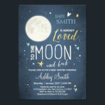 """Baby Shower Love You to the Moon and Back Blue Boy Card<br><div class=""""desc"""">♥ A cute and fun baby shower invite for your little one on it&#39;s way!</div>"""