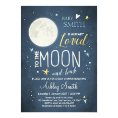 Baby Shower Love You To The Moon And Back Blue Boy Card at Zazzle