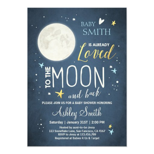 Personalised New Baby Or Birthday Card By Mint Nifty: Baby Shower Love You To The Moon And Back Blue Boy Card