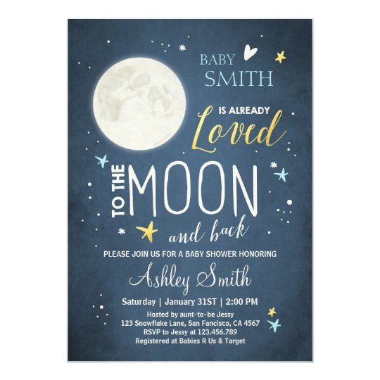 baby shower love you to the moon and back blue boy card | zazzle, Baby shower invitations