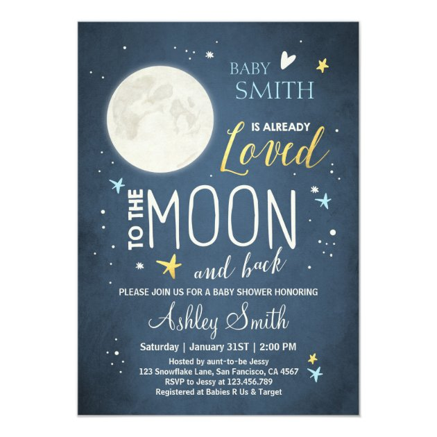 baby shower love you to the moon and back blue boy card | zazzle,