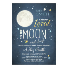 Baby Shower Love You to the Moon and Back Blue Boy Invitation
