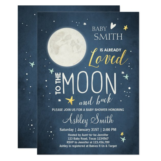 baby shower love you to the moon boy girl mint card   zazzle, Baby shower invitations