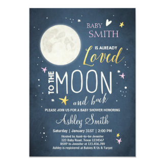 Baby Shower Love You to the Moon Girl Pink Gold Card