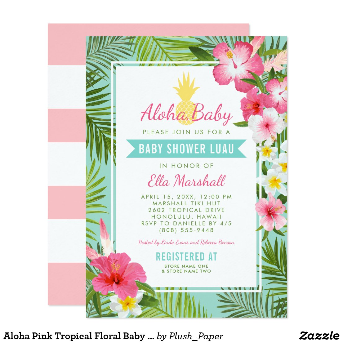 Baby Shower Luau Invitations | Tropical Flowers