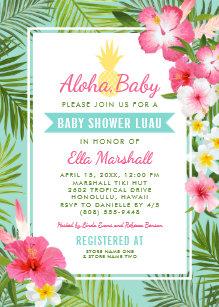 Save 60 on luau baby shower invitations limited time only zazzle baby shower luau invitations tropical flowers filmwisefo