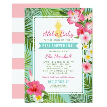 Toddler & Baby themed Baby Shower Luau Invitations | Tropical Flowers
