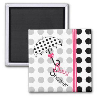 Baby Shower Magnet - Polka Dot Umbrella & Pink
