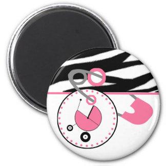 Baby Shower Magnet - Zebra Print & Pink Diaper Pin