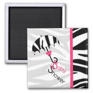 Baby Shower Magnet - Zebra Print Umbrella & Pink