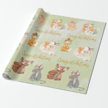 Baby Shower Mama Baby Animals Congratulations Wrapping Paper