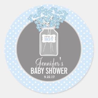 Baby Shower Mason Jar (blue) Classic Round Sticker