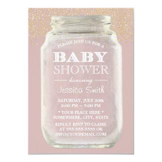 Baby Shower Mason Jar Gold Confetti Dusty Pink Card
