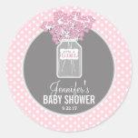 Baby Shower Mason Jar (pink) Classic Round Sticker