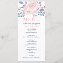 Baby Shower Menu Card, Blue, Blush Pink