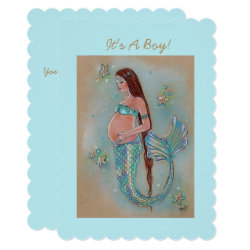 Baby shower mermaid invitations by Renee Lavoie
