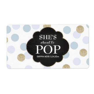 Baby Shower Mini Champagne Label Blue Polka Dots