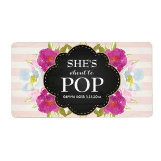 Baby Shower Mini Champagne Label Girl