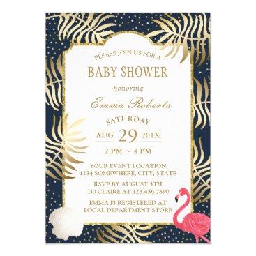 Beach Themed Baby Shower Modern Navy & Gold Tropical Beach Card