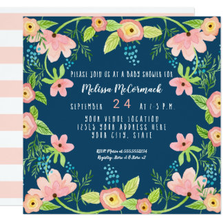 Baby Shower Modern Navy Pink Floral Watercolor Art Card
