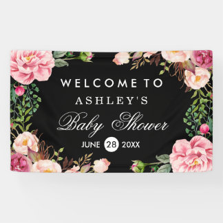 Baby Shower Modern Romantic Rose Floral Wrap Banner