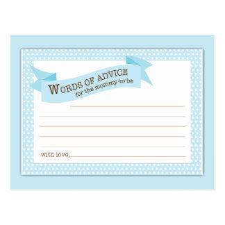 Baby Shower Mom Advice Card Blue Polka Dot