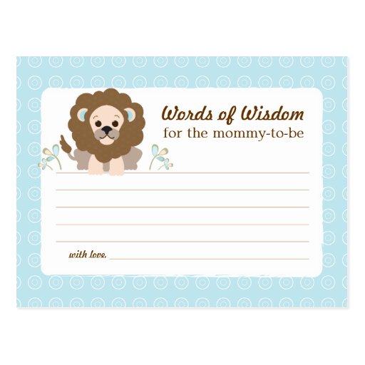 baby shower mom advice card boy lion post card
