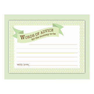 Baby Shower Mom Advice Card Green Polka Dot