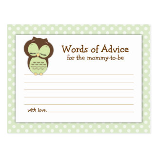 Baby Shower Mom Advice Card Green Sleepy Owl