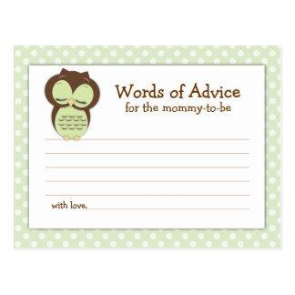Baby Shower Mom Advice Card Green Sleepy Owl