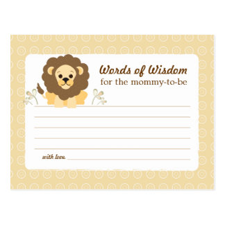 Baby Shower Mom Advice Card Neutral Lion