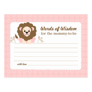 Baby Shower Mom Advice Card Pink Lion