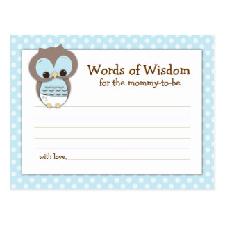 Baby Shower Mom Advice Card Pink Sleepy Owl