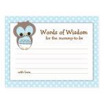 Baby Shower Mom Advice Card Pink Sleepy Owl Postcard