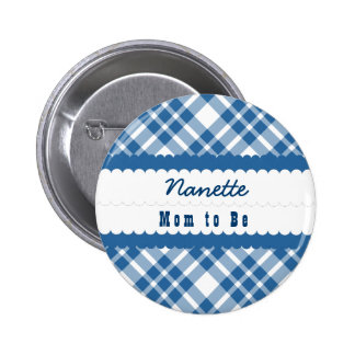 Baby Shower Mom To Be Diagonal Plaid V10 BLUE 2 Inch Round Button