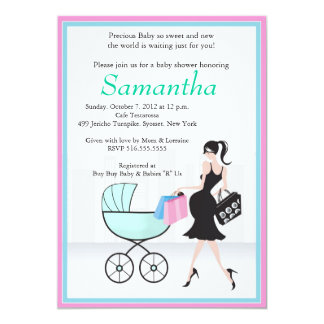 Baby Shower Mom to be with Carriage Card