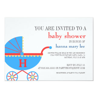 Baby Shower Monogram Carriage Invitation